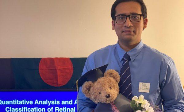 Dr. Minhaj Alam gave his PhD thesis defense remotely.